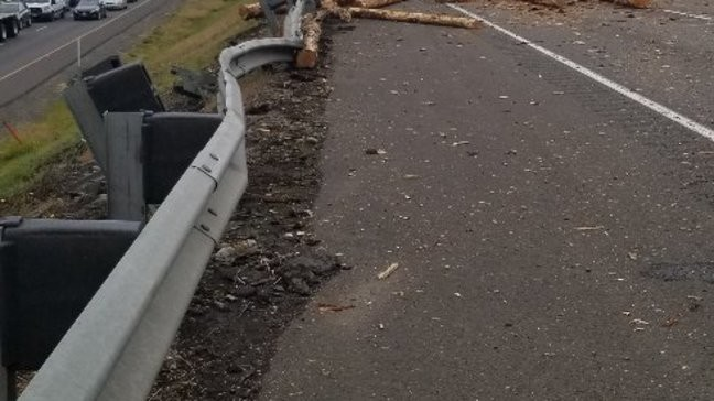 Log truck crashes on I-5 north in Centralia, 1 person