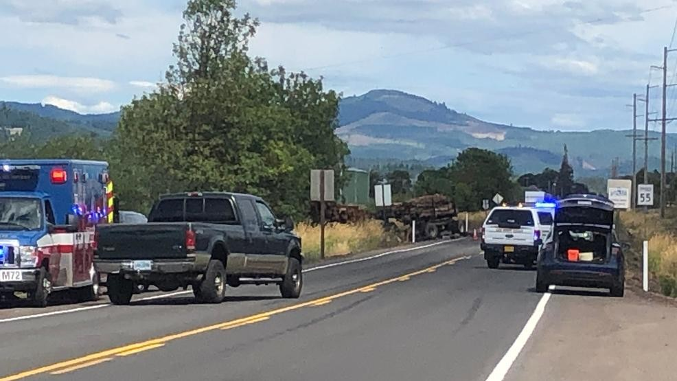 Fatal crash involving log truck blocks Hwy 228 between I-5 and
