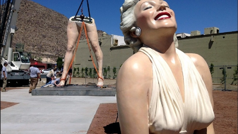 """Forever Marilyn,"" the 26-foot-tall sculpture of the blonde Hollywood icon, is reassembled at the corner of Palm Canyon Drive and Tahquitz Canyon Way in Palm Springs, Calif."