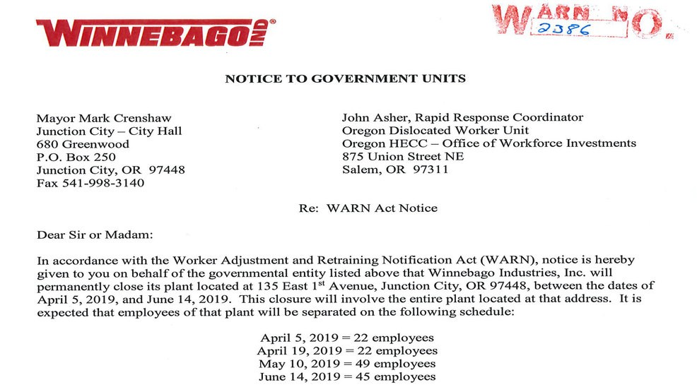 Winnebago provides state with timeline for job cuts in