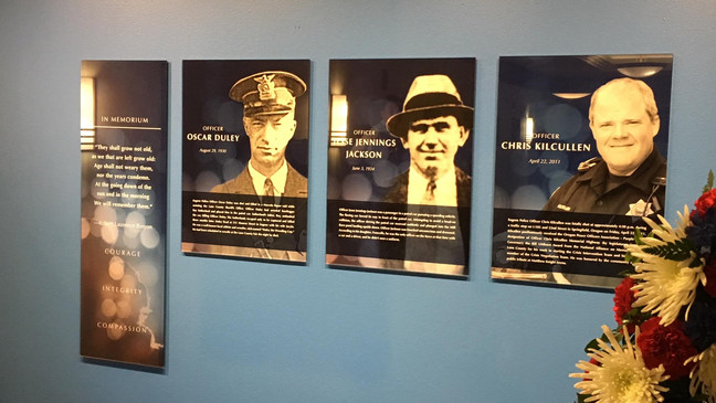 Fallen Officer Memorial Wall unveiled at Eugene Police
