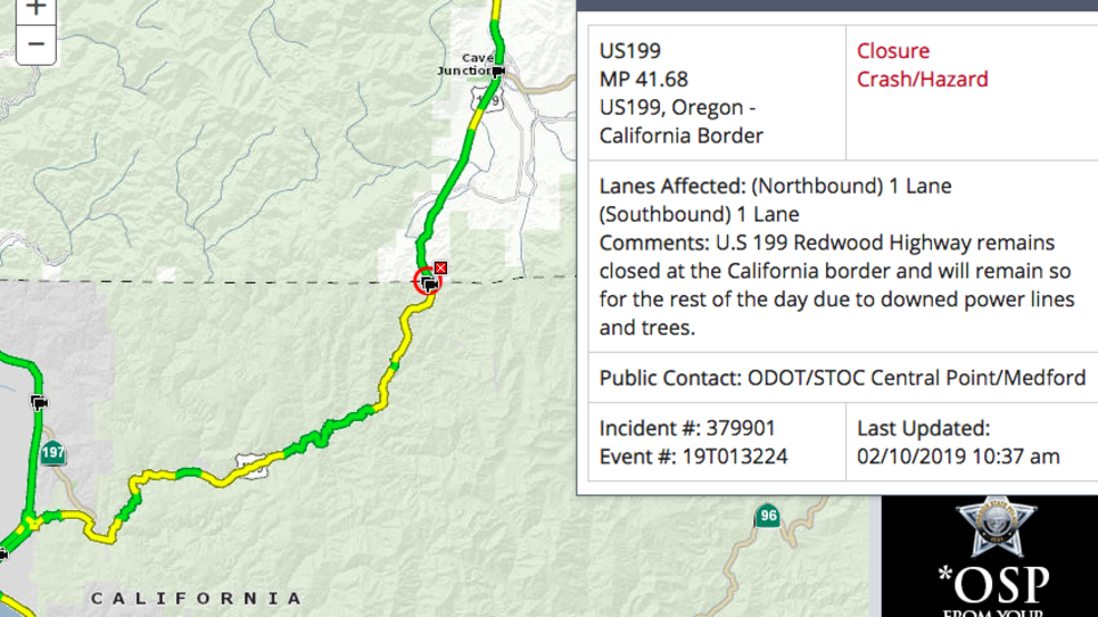 Highway 41 California Map.Redwood Highway Closed At Or Ca Border After Snow Falls Tree Limbs